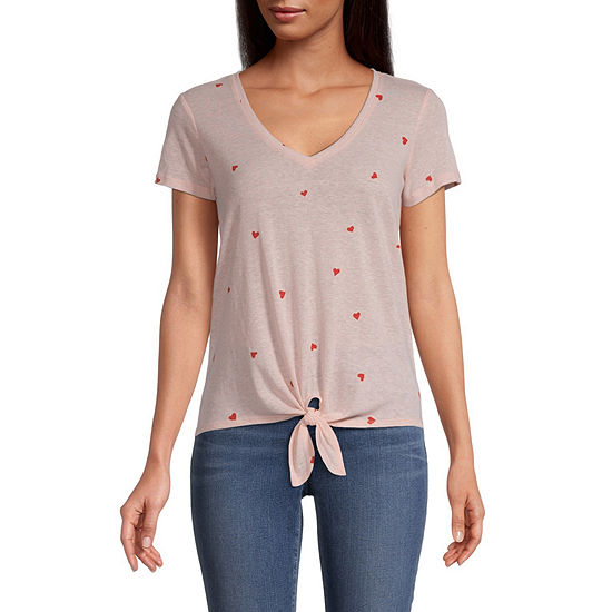 Belle Du Jour-Juniors Womens V Neck Short Sleeve Graphic T-Shirt