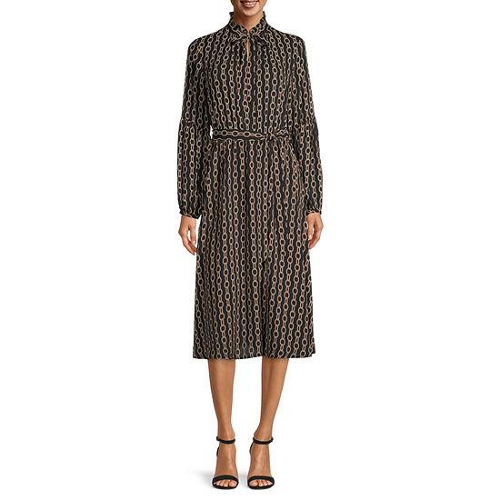 Worthington Long Sleeve Dots Fit & Flare Dress