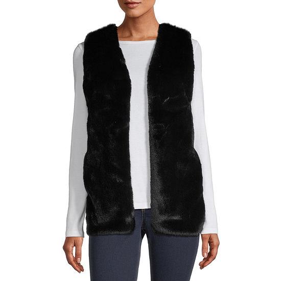 Liz Claiborne Womens Faux Fur Vest - Petite