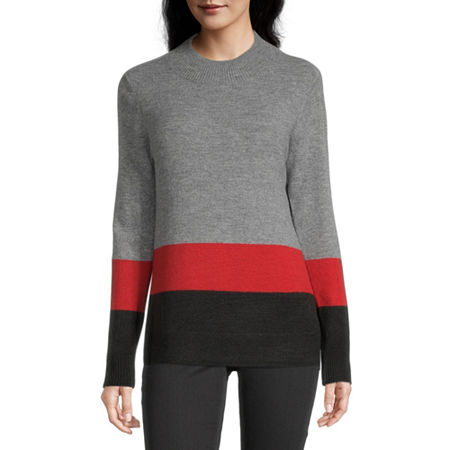 Liz Claiborne Weekend Womens Mock Neck Long Sleeve Pullover Sweater, Small , Red