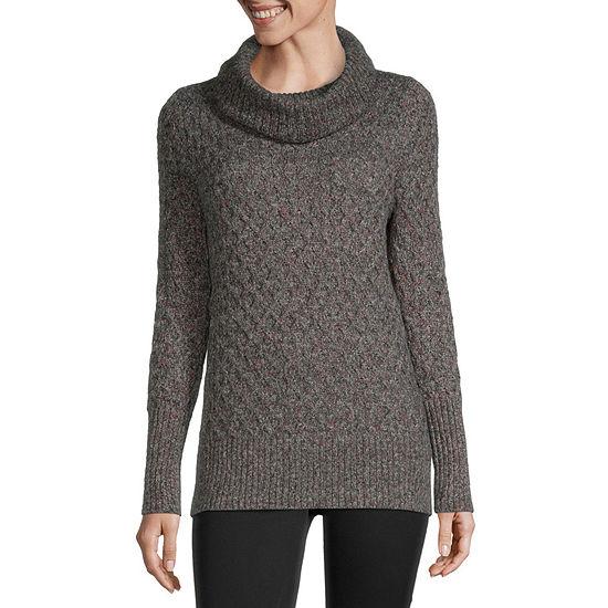 Liz Claiborne Womens Cowl Neck Pullover Sweater