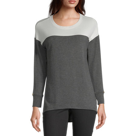 Liz Claiborne Womens Round Neck Long Sleeve Tunic Top, Xx-large , Gray