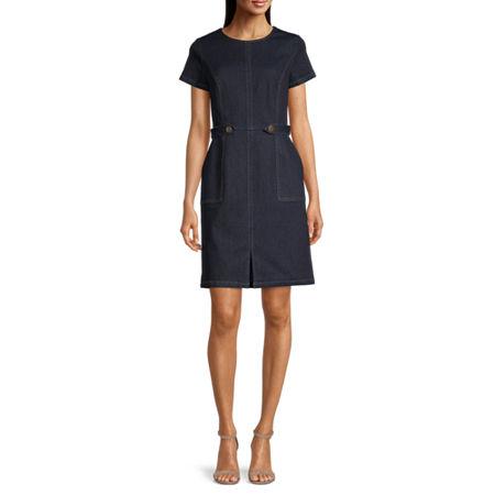 Liz Claiborne Short Sleeve Sheath Dress, 4 , Blue