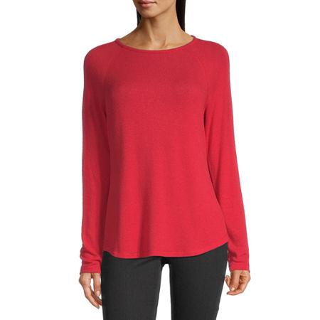 Liz Claiborne Womens Round Neck Long Sleeve T-Shirt, X-large , Red