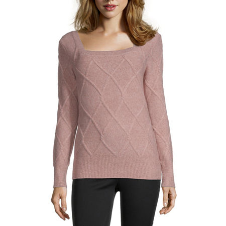 Liz Claiborne Womens Square Neck Long Sleeve Pullover Sweater, Xx-large , Pink
