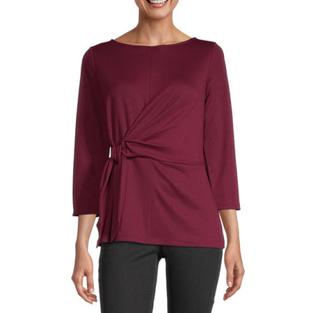 Liz Claiborne Womens Boat Neck 3/4 Sleeve Ponte Blouse, Small , Red