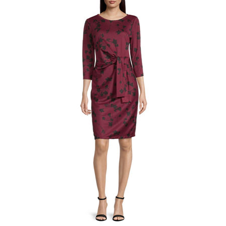 Liz Claiborne 3/4 Sleeve Floral Sheath Dress, Small , Red