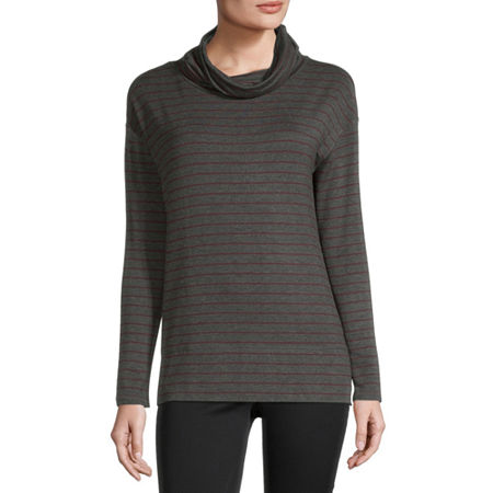 Liz Claiborne Womens Cowl Neck Long Sleeve Tunic Top, X-large , Gray