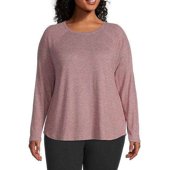 St. John's Bay Plus-Womens Round Neck Long Sleeve T-Shirt