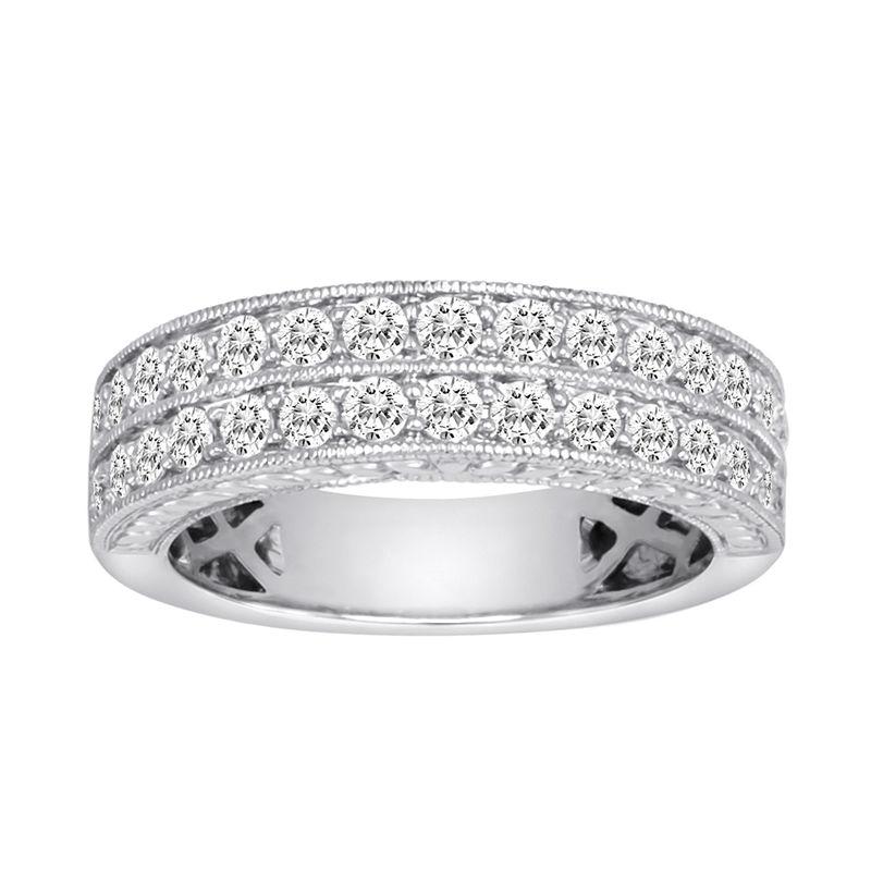 1 CT. T.W. Certified Diamond 14K White Gold Vintage-Style Wedding Band plus size,  plus size fashion plus size appare