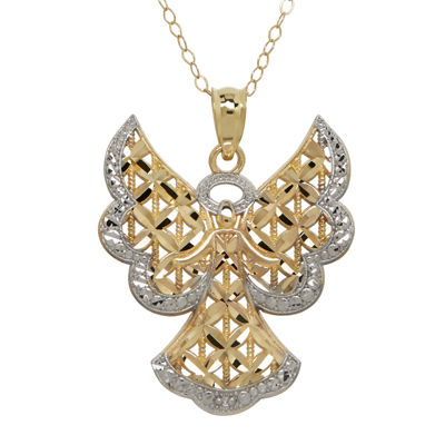 Diamond-Accent 10K Two-Tone Gold Angel Pendant Necklace