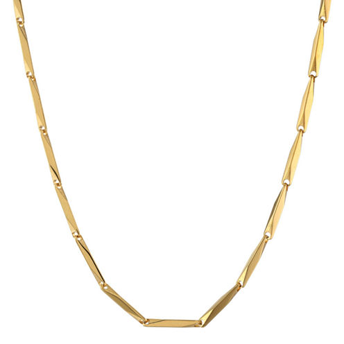 """Mens Stainless Steel & Gold-Tone IP 22"""" 2mm Link Chain"""
