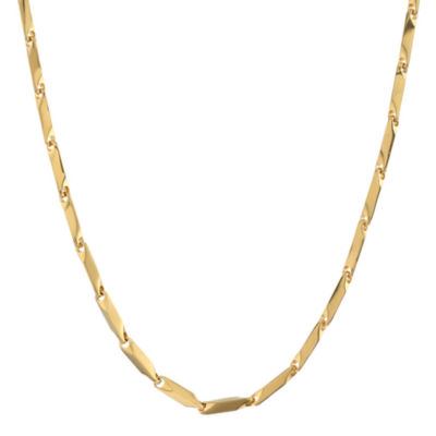 """Mens Stainless Steel & Gold-Tone IP 24"""" 3mm Link Chain"""