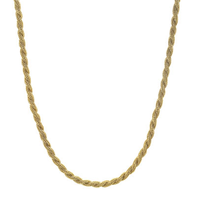 "Mens Stainless Steel & Gold-Tone IP 24"" 4mm Rope Chain"