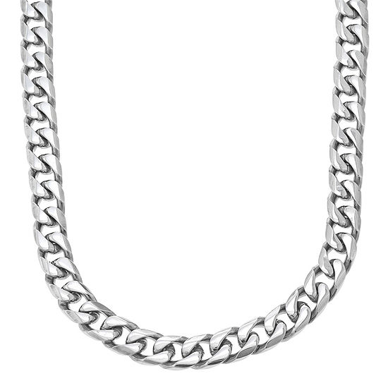 """Mens Stainless Steel 22"""" 11mm Beveled Curb Chain"""