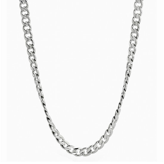"""Mens Stainless Steel 24"""" 7mm Curb Chain"""