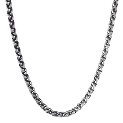 """Mens Stainless Steel & Black IP 24"""" 8mm Wheat Chain"""