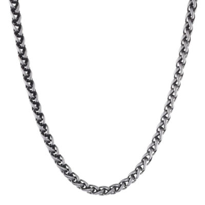 "Mens Stainless Steel & Black IP 24"" 8mm Wheat Chain"