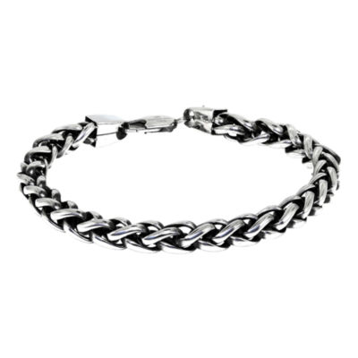 "Mens Stainless Steel & Black IP 9"" 8mm Wheat Bracelet"