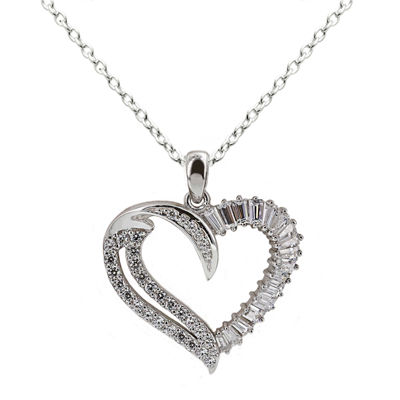 DiamonArt® Cubic Zirconia Sterling Silver Heart Pendant Necklace