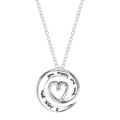 """Sterling Silver """"Love You to the Moon and Back"""" Swirl Pendant Necklace"""