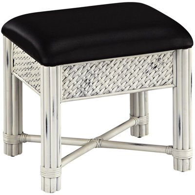 Lucia Wicker Upholstered Vanity Bench