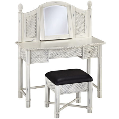 Lucia Wicker Vanity and Bench