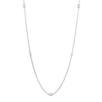 Genuine White Topaz Sterling Silver Station Necklace
