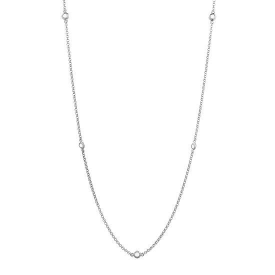 Genuine White Topaz Sterling Silver Station Necklace
