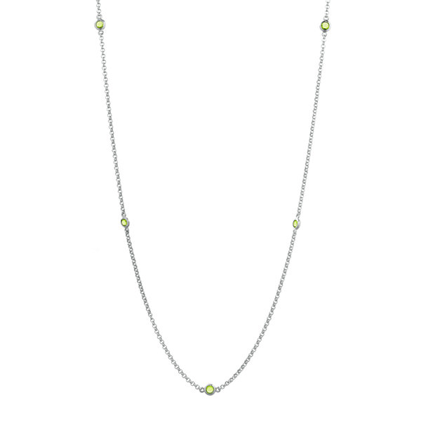 Genuine Peridot Sterling Silver Station Necklace