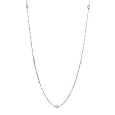 Genuine Citrine Sterling Silver Station Necklace