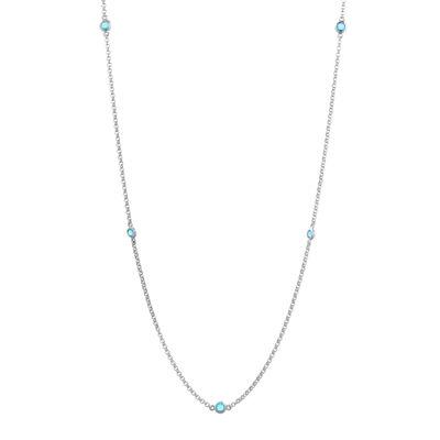 Genuine Sky Blue Topaz Sterling Silver Station Necklace