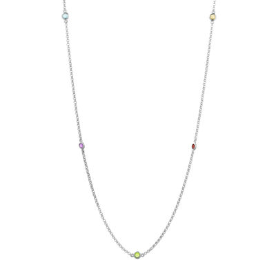 Genuine Multi-Gemstone Sterling Silver Station Necklace