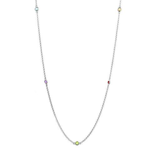 Genuine Multi-Gemstone Sterling Silver Station Necklace