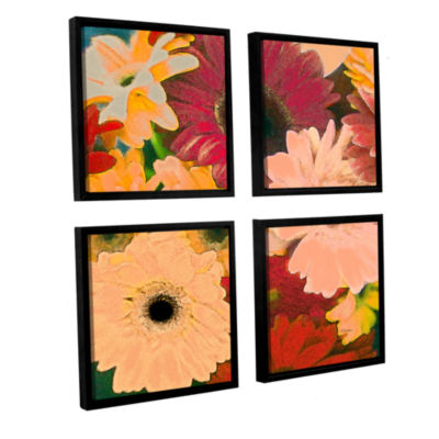 Brushstone Gerbera Cluster 4-pc. Floater Framed Canvas Sqare Set