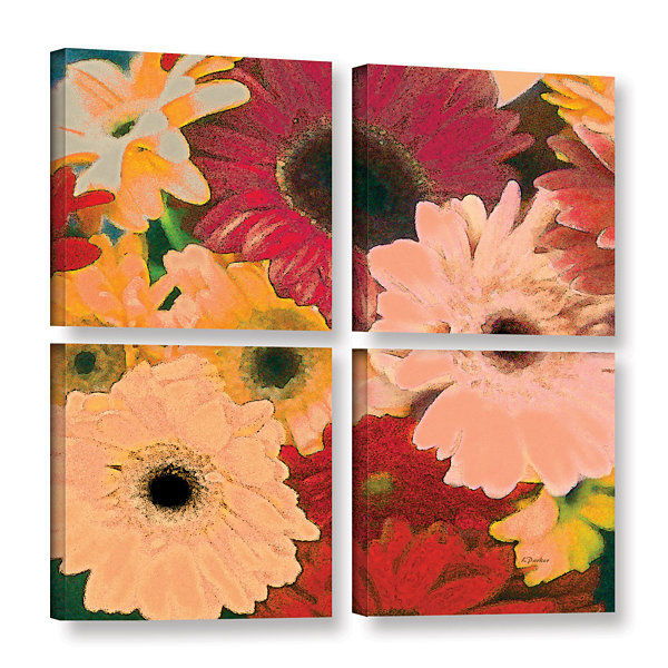 Brushstone Gerbera Cluster 4-pc. Gallery Wrapped Canvas Square Set