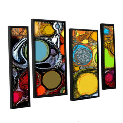 Brushstone Glass Bubbles 2 4-pc. Floater Framed Canvas Staggered Set