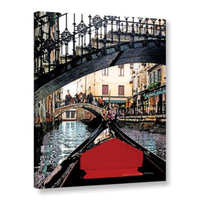 Brushstone Gondola Under Bridge Gallery Wrapped Canvas