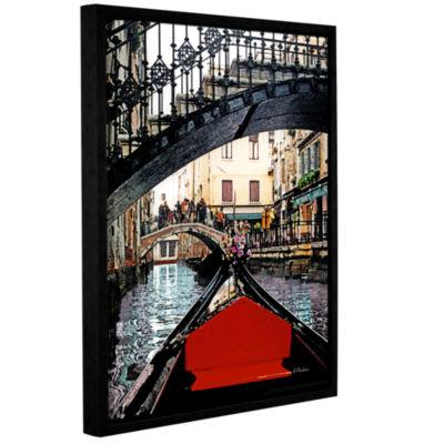 Brushstone Gondola Under Bridge Gallery Wrapped Floater-Framed Canvas