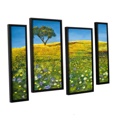 Brushstone Golden Meadow 4-pc. Floater Framed Canvas Staggered Set