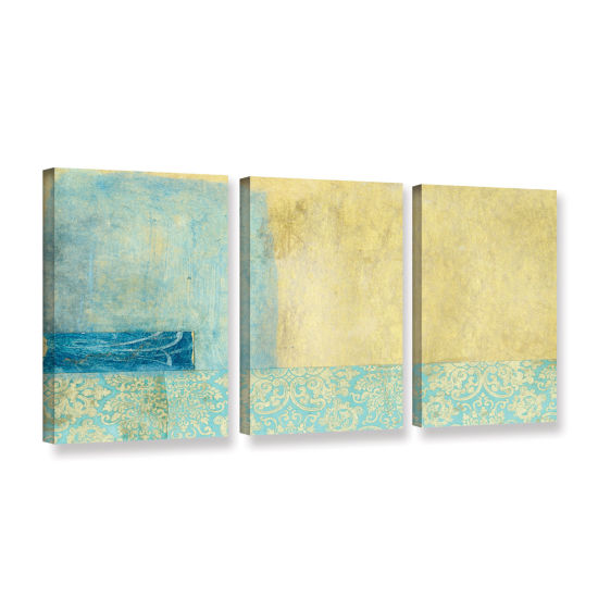 Brushstone Gold and Blue Banner 3-pc. Gallery Wrapped Canvas Set