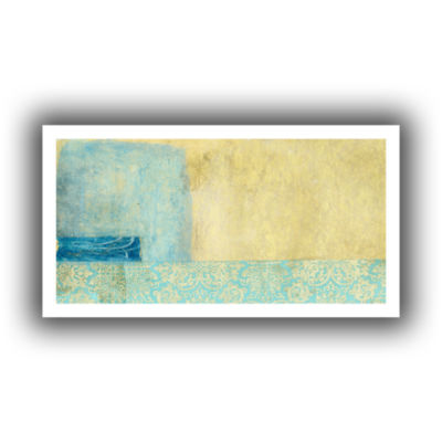Brushstone Gold and Blue Banner Canvas Wall Art