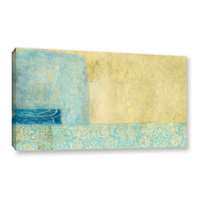 Brushstone Gold and Blue Banner Gallery Wrapped Canvas