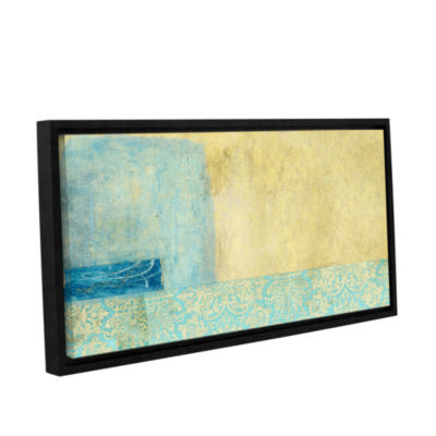 Brushstone Gold and Blue Banner Gallery Wrapped Floater-Framed Canvas