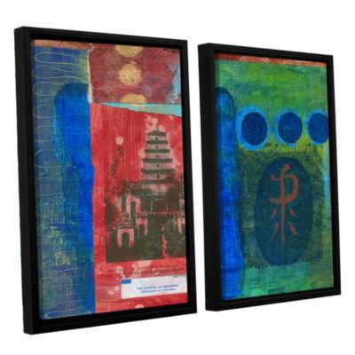 Brushstone Good Fortune Pagoda 2-pc. Floater Framed Canvas Set