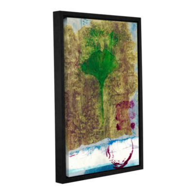 Brushstone Ginko Leaf Gallery Wrapped Floater-Framed Canvas