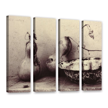 Brushstone Gourds And Bowl 4-pc. Gallery Wrapped Canvas Set