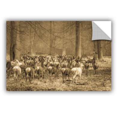 Brushstone Hurdle of Deer Removable Wall Decal