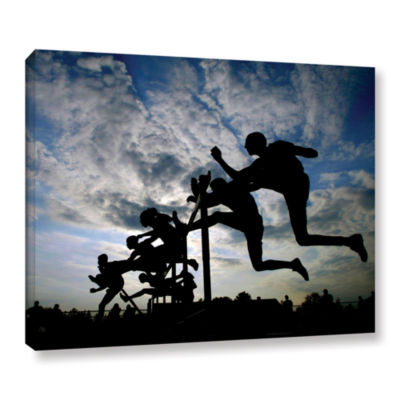 Brushstone Hurdle Silhouette Gallery Wrapped Canvas