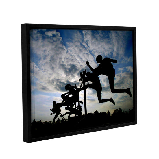 Brushstone Hurdle Silhouette Gallery Wrapped Floater-Framed Canvas